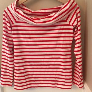 J Crew Ladies Off-Shoulder Striped T-shirt Small